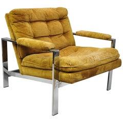 Vintage Milo Baughman Style Flat Bar Chrome Club Lounge Chair Armchair