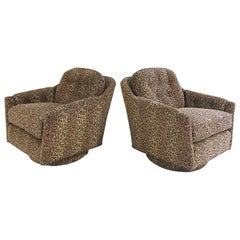 Vintage Milo Baughman Swivel Tilt Lounge Chairs Restored in Kravet Leopard Print