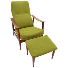 Vintage Milo Baughman Walnut Reclining Chair and Ottoman