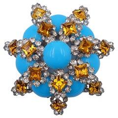 Vintage Mimi d N Rare Turquoise Brooch