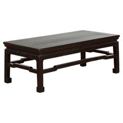 Vintage Ming Dynasty Style Black Lacquer Coffee Table with Humpback Stretchers