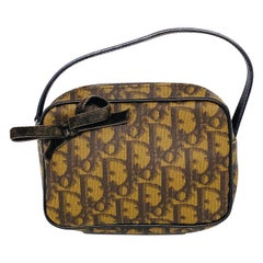 Vintage MIni Christian DIOR Brown Leather Purse Bag w/ Bow
