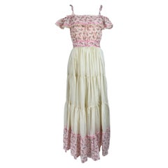Vintage Mini Floral Tiered Ruffle Maxi Dress 1970s