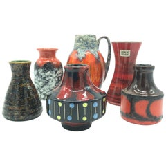 Vintage Miniature Collection of West German Pottery Vases