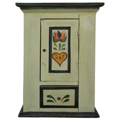 Vintage Miniature Folk Art Shaker Style Wall Hanging Cabinet Cupboard