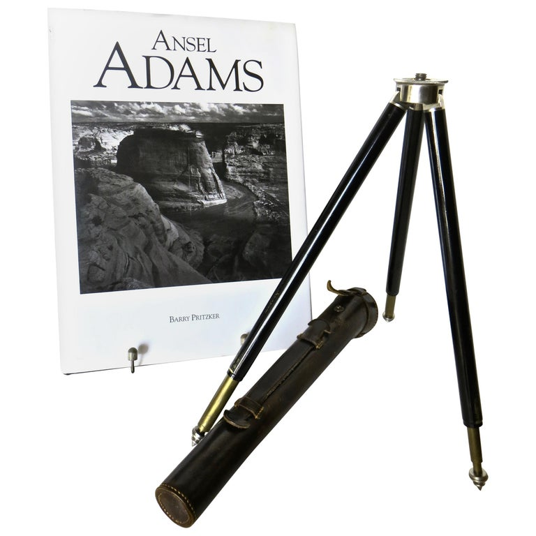 Vintage Miniature German Variable Camera Tripod 1920s with Ansel Adams Book For Sale