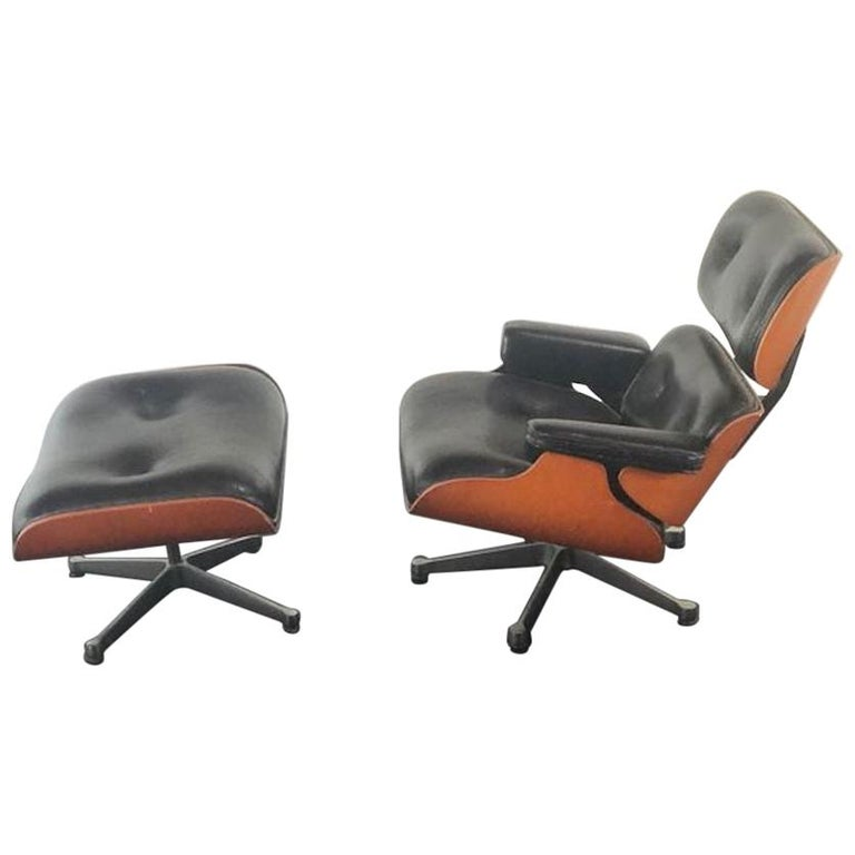 Vintage Miniature of Charles Eames Vitra Design Museum Lounge Chair and Ottoman For Sale