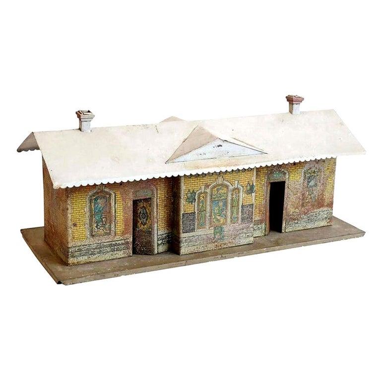 Sheet Metal Vintage Miniature Train Depot For Sale