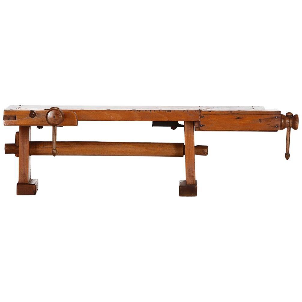 Vintage Miniature Wood Workbench, 1940s