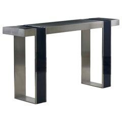 Vintage Minimalist Modern Matte and Blue Enamel Steel Console Table