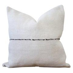 Vintage Minimalist Style Hemp Pillow with Dark Brown Stitching