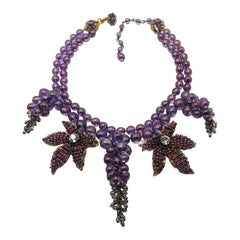 Vintage Miriam Haskell Amethyst Glass Cascading Necklace 1950s