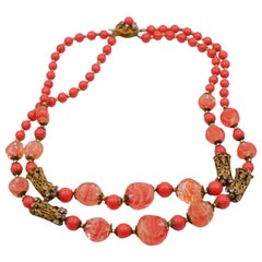 Vintage Miriam Haskell Coral Glass Beads 1950's