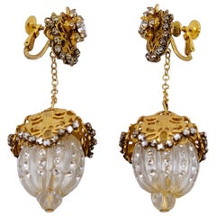Vintage Miriam Haskell Dangling Plastic Cabochon Earrings 1960s