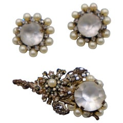 Vintage Miriam Haskell Faux Pearl and Moonstones Brooch and Earrings set 1950s
