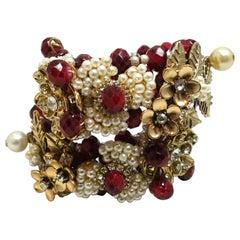 Vintage Miriam Haskell Faux Pearl & Crystal Floral Wrap Bracelet