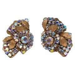 Vintage Miriam Haskell Flower Massive Earrings
