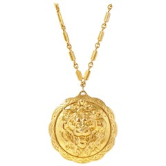 Vintage Miriam Haskell Gilded Lion Pendant Necklace, Signed, 1970s