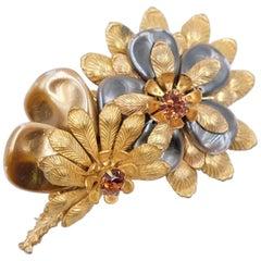 Vintage Miriam Haskell Mother of Pearl Flowers Brooch