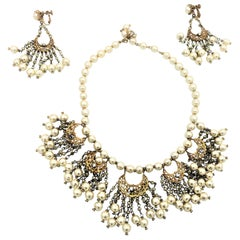 Vintage Miriam Haskell necklace with matching earrings gold plated 1950s