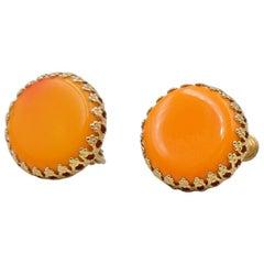 Vintage Miriam Haskell Orange Glass Earrings 1960s