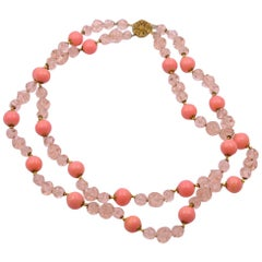 Vintage Miriam Haskell Peach Glass Necklace Beads 1950's