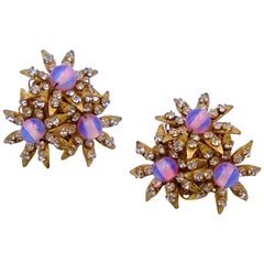 Vintage Miriam Haskell Pink Flowers Earrings 1960's