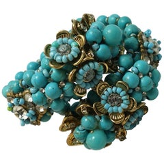 Vintage Miriam Haskell Turquoise Color Glass Beads & Crystal Wrap Bracelet