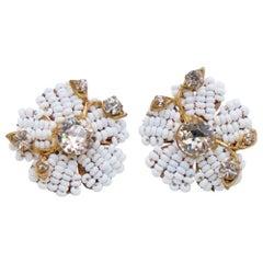 Vintage Miriam Haskell White Bead Flowers Earrings 1960s