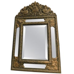 Vintage Mirror Frame in Embossed Brass Sheet, Early 1900s, Italy