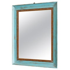 Vintage Mirror in Blue Painted Wooden Frame, Italy, Early 20th Century