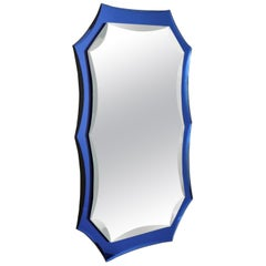Vintage Mirror with Cobalt Blue Borders