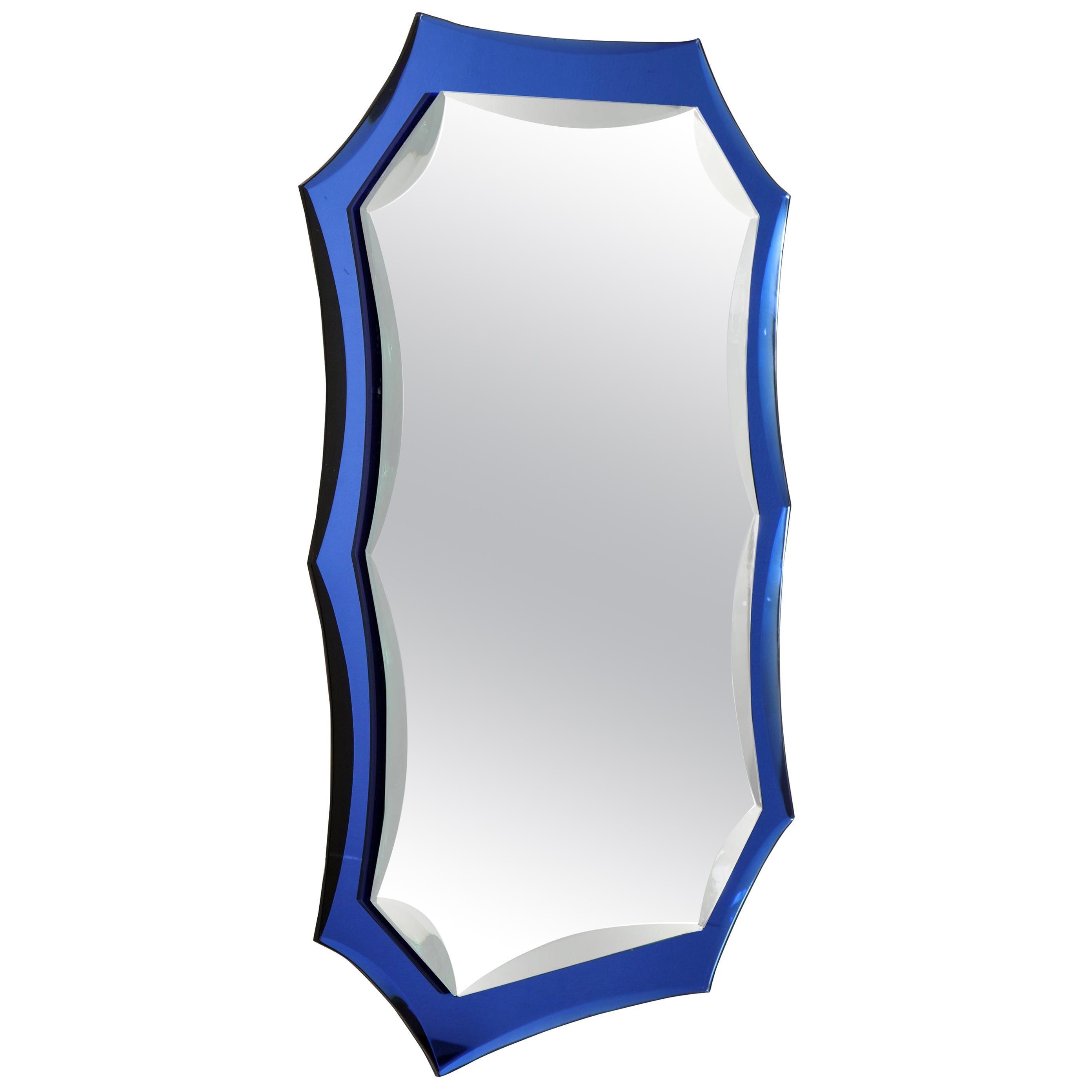 Vintage Mirror with Cobalt Blue Borders