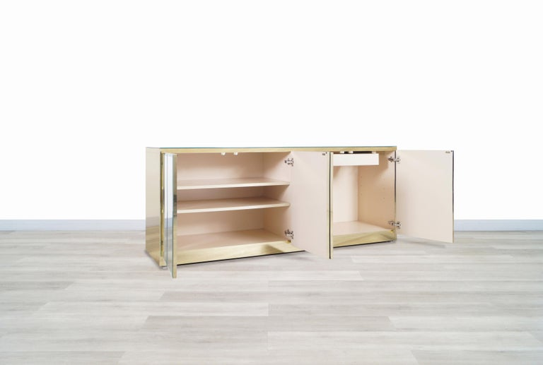 Mid-Century Modern Vintage Mirrored and Glass Credenza by Ello For Sale