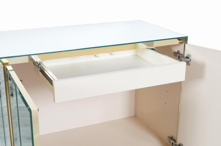 American Vintage Mirrored and Glass Credenza by Ello For Sale