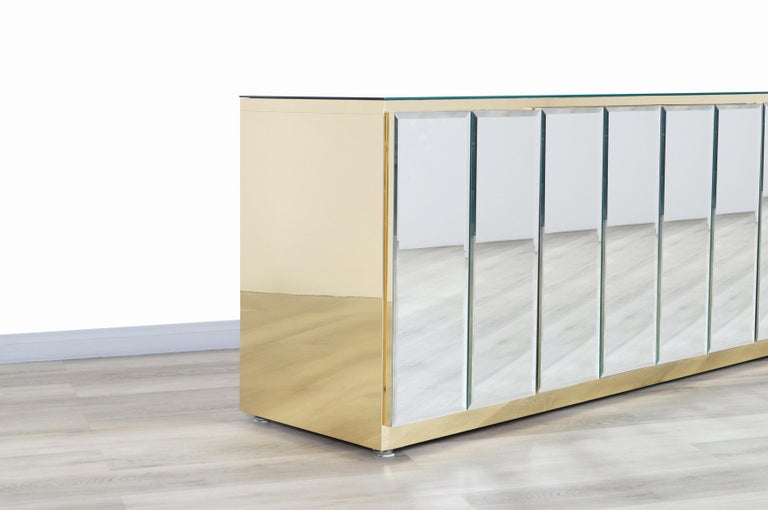 Vintage Mirrored and Glass Credenza by Ello In Excellent Condition For Sale In Burbank, CA