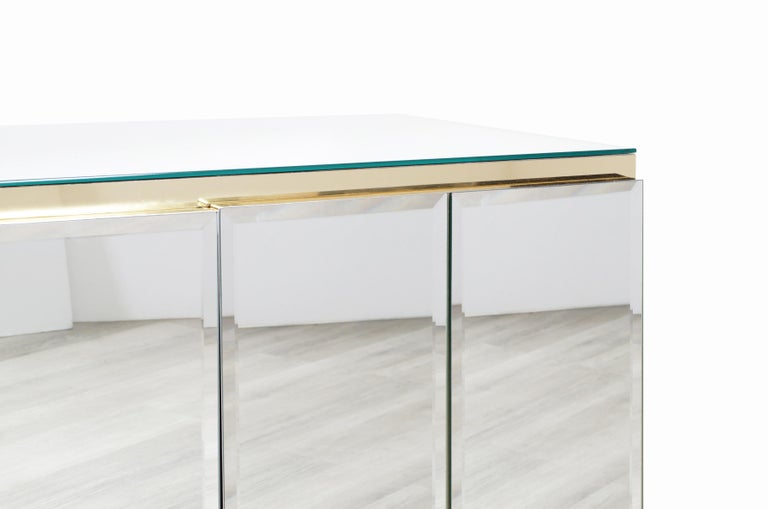 Late 20th Century Vintage Mirrored and Glass Credenza by Ello For Sale
