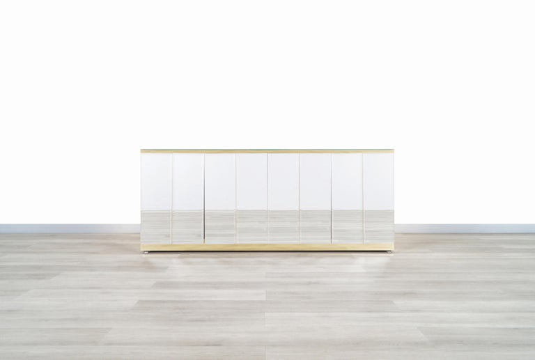 Vintage Mirrored and Glass Credenza by Ello For Sale 1
