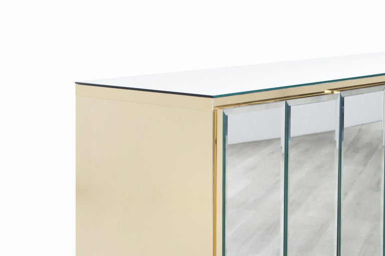 Vintage Mirrored and Glass Credenza by Ello For Sale 2