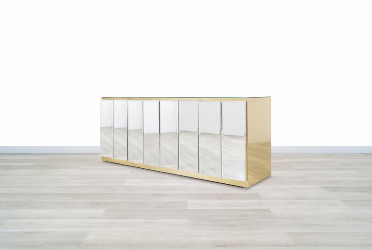 Vintage Mirrored and Glass Credenza by Ello For Sale 3