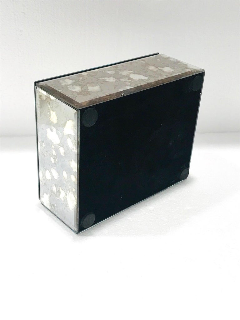 Vintage Mirrored Jewelry Box in Antique Grey and Bronze Glass, circa 1990 For Sale 2