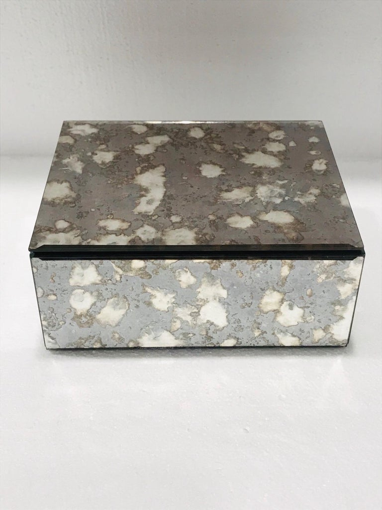 Hollywood Regency Vintage Mirrored Jewelry Box in Antique Grey and Bronze Glass, circa 1990 For Sale