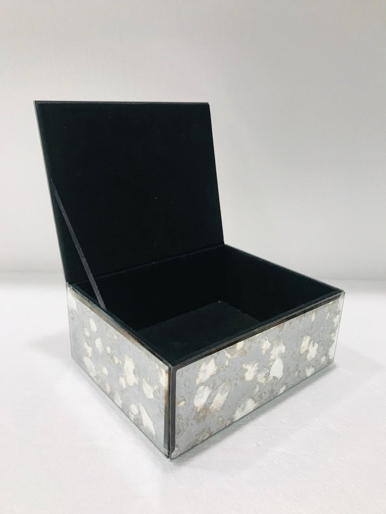 Beveled Vintage Mirrored Jewelry Box in Antique Grey and Bronze Glass, circa 1990 For Sale