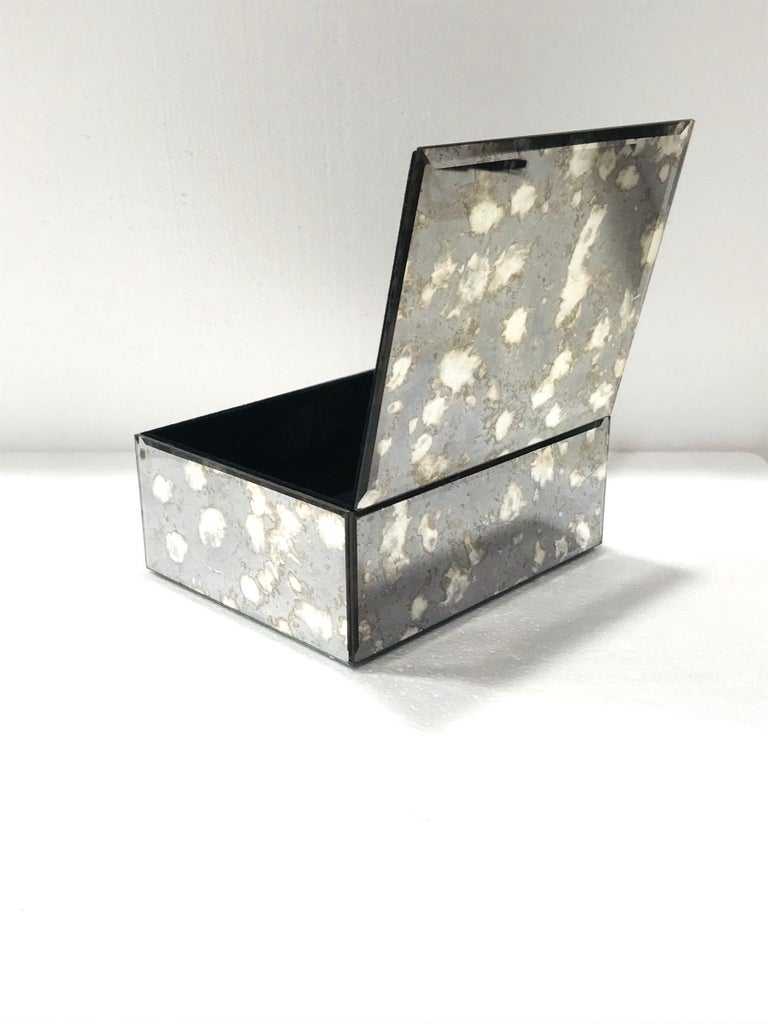 Late 20th Century Vintage Mirrored Jewelry Box in Antique Grey and Bronze Glass, circa 1990 For Sale