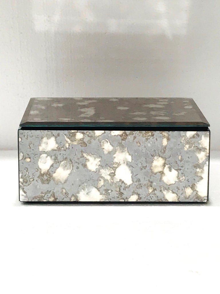 Felt Vintage Mirrored Jewelry Box in Antique Grey and Bronze Glass, circa 1990 For Sale
