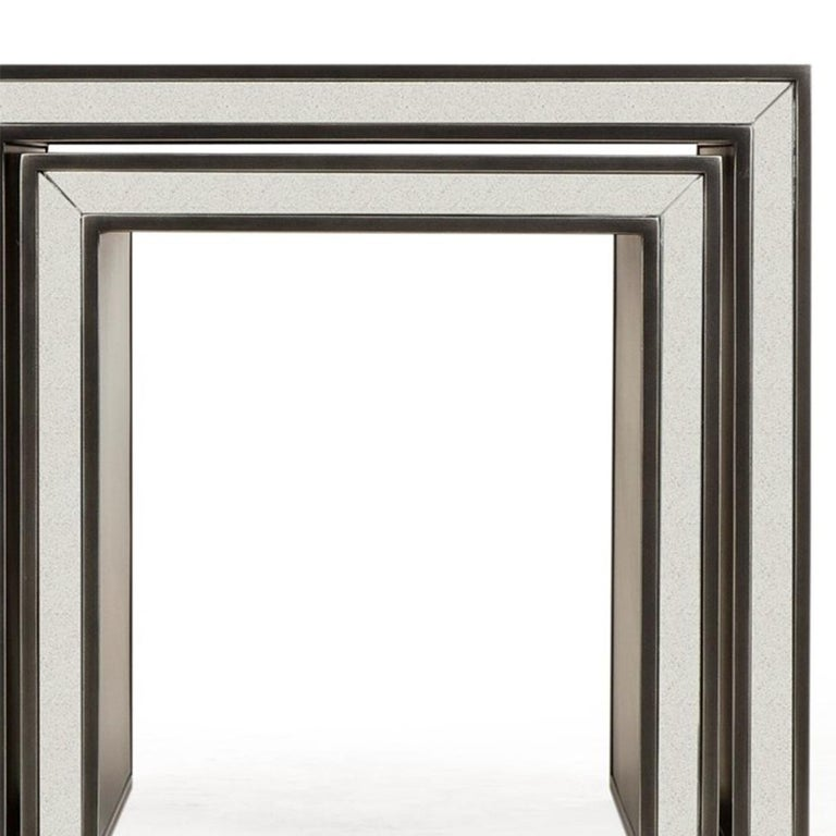 Steel Vintage Mirrored Set of 2 Side Table For Sale