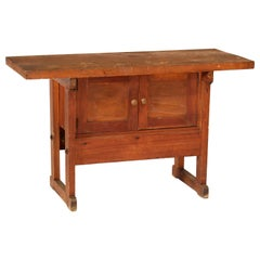 Vintage Mission / Industrial Wooden Arts & Crafts Work Storage Table / Buffet