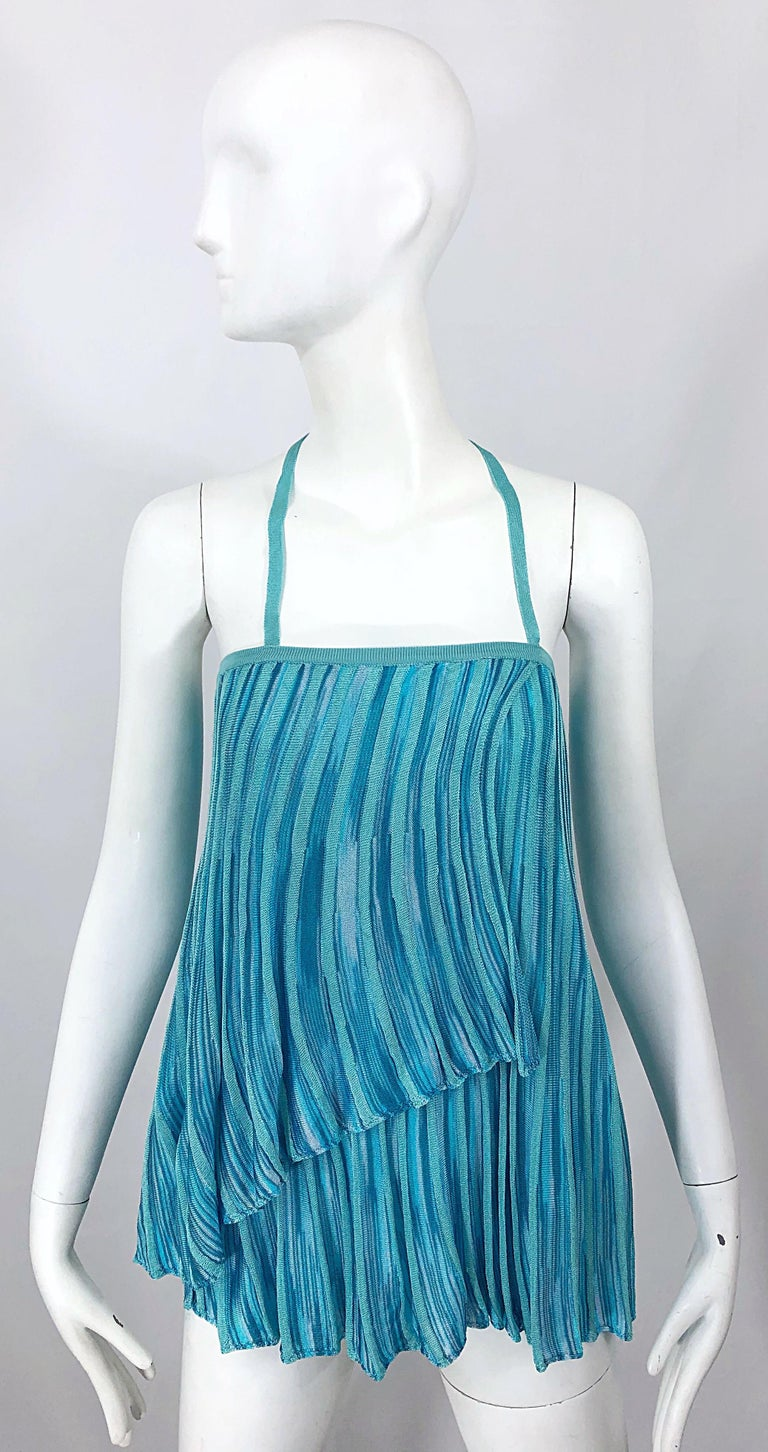 Chic vintage 1990s MISSONI turquoise, teal, and blue signature rayon knit halter top OR skirt! Features bold vibrant shades of blue that are perfect on any skin tone. Simple slips over the head. Strap can also be tucked in to be worn as a tube top