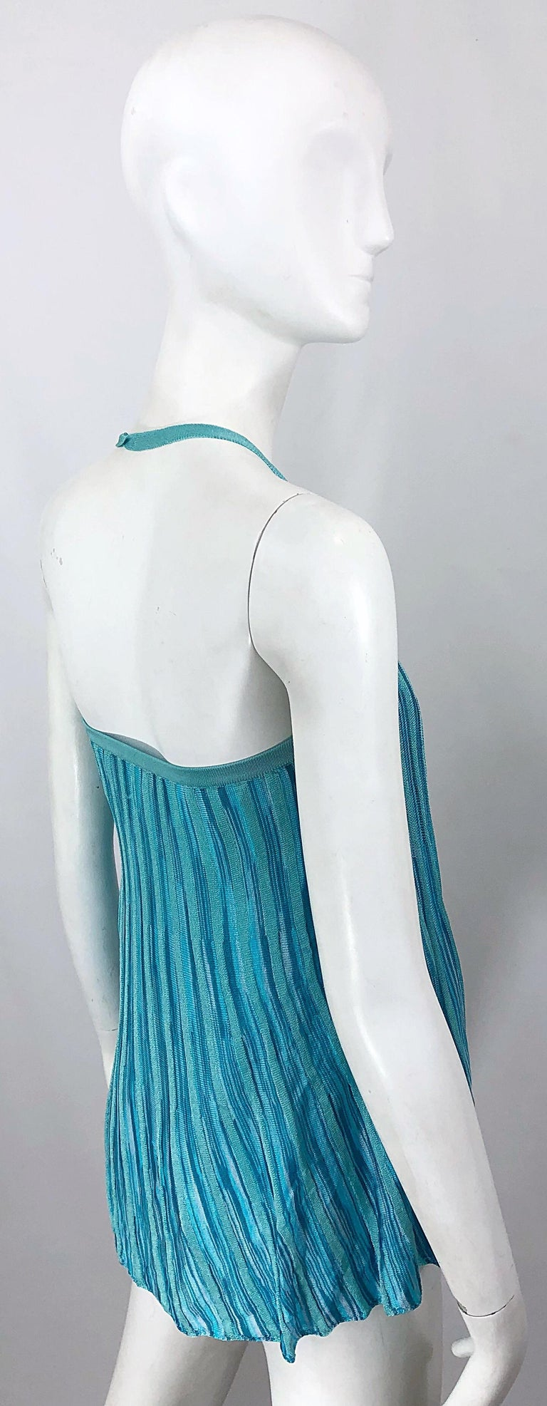 Vintage Missoni 1990s Turquoise Teal Blue Knit Vintage 90s Halter Top OR Skirt In Excellent Condition For Sale In Chicago, IL