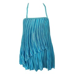 Vintage Missoni 1990s Turquoise Teal Blue Knit Vintage 90s Halter Top OR Skirt